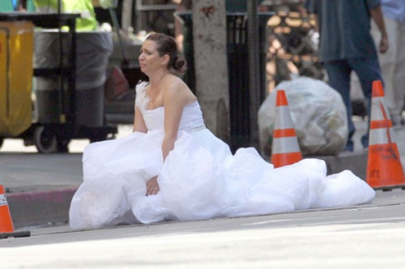 Sometimes you just gotta go right there in the street, in a wedding dress.