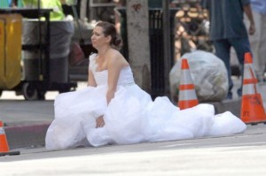 Sometimes you just gotta go right there in the street, in a wedding dress. Also, watch Bridesmaids #Best