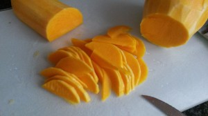 Peel a long, thin butternut and cut into very thin half-moon slices (2mm or so). I didn't use the 'bulb' part, but if you do, remove the seeds.
