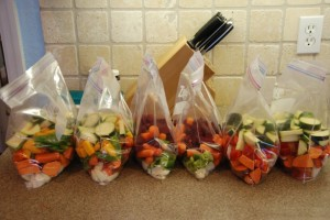 Chop and freeze bags of veg for quick weekday cooking