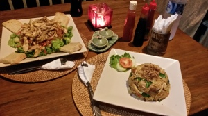 Healthy chicken salad and nasi goreng on the balcony of our bungalow in Bangalan, Bali