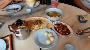 A selection of Chinese fare at Melaka, Malaysia, including rice balls, bean sprouts, pork and miso soup with dumplings. It's not that the ingredients themselves were bad, but that they were super oily and salty, and gave me the only discomfort I experienced during my trip.